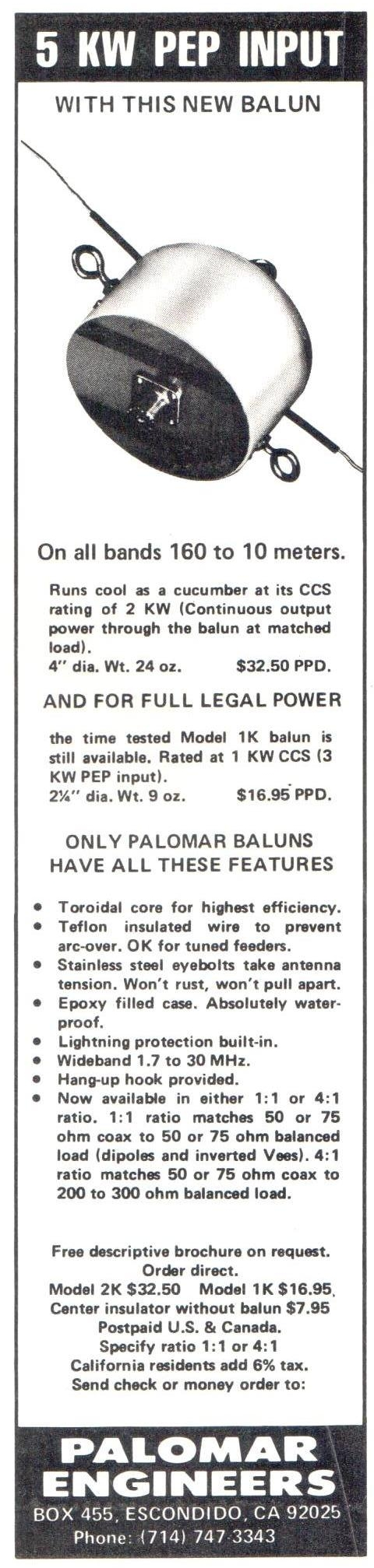 1K and 2K Balun Ad CQ 1977 Cropped