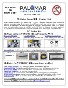 Ham Radio RFI Solutions Cheat Sheet - Palomar Engineers®