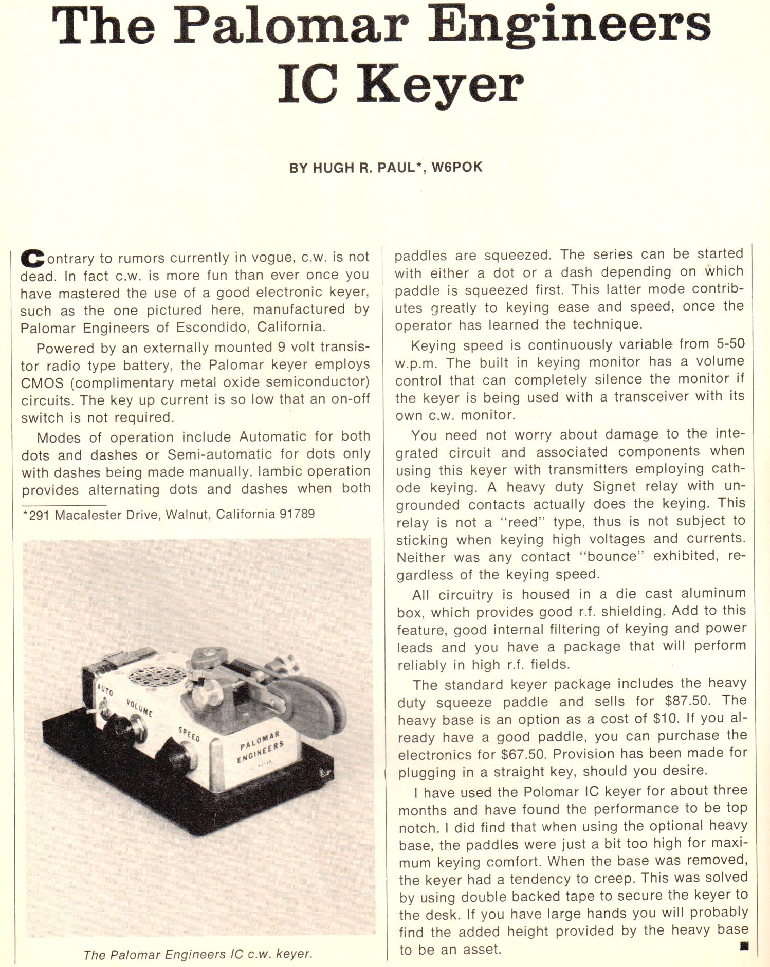 IC Keyer CQ Review March 1977 - IC Keyer